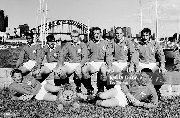 England's eight players who played in the 3rd Test match of the British Lions tour of Australia pictured beside Sydney Harbour on 14th July 1989 Back...
