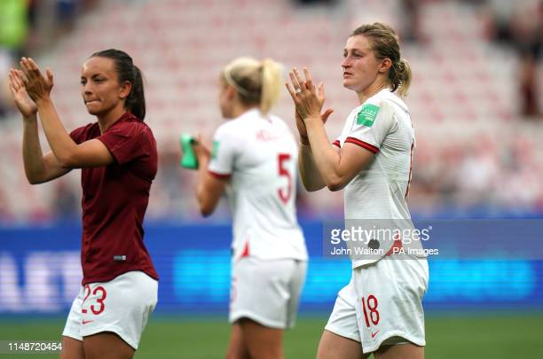 England's Ellen White applauds fans after the final whistle during the FIFA Women's World Cup Group D match at the Stade de Nice