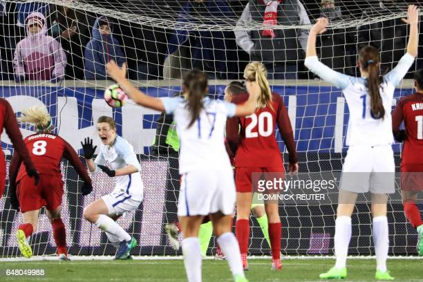 England's Ellen White reacts after scoring the goahead goal against the United States as the United States and England women's national teams play in...