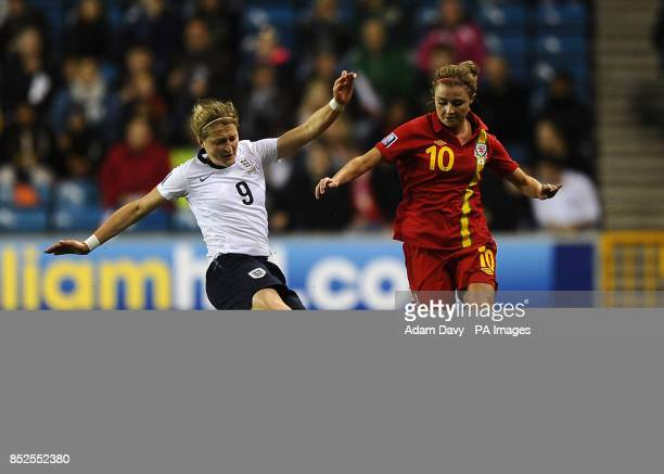 England's Ellen White tackles Wales' Sarah Wiltshire during the Women's World Cup Qualifying Group Six match at The Den London