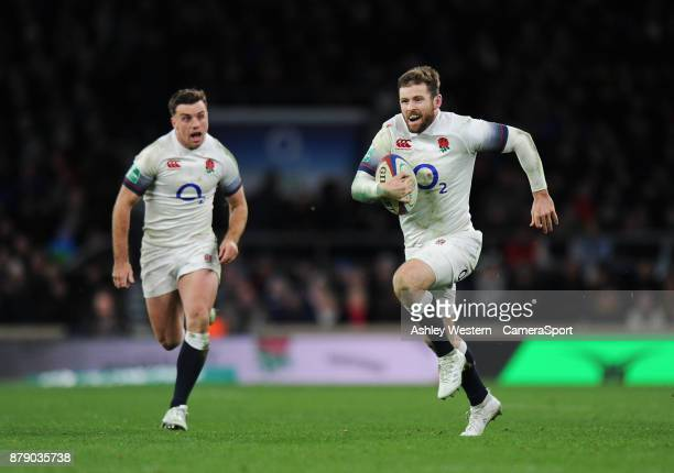 England's Elliot Daly scores his sides sixth try during the 2017 Old Mutual Wealth Series Autumn International match between England and Samoa at...