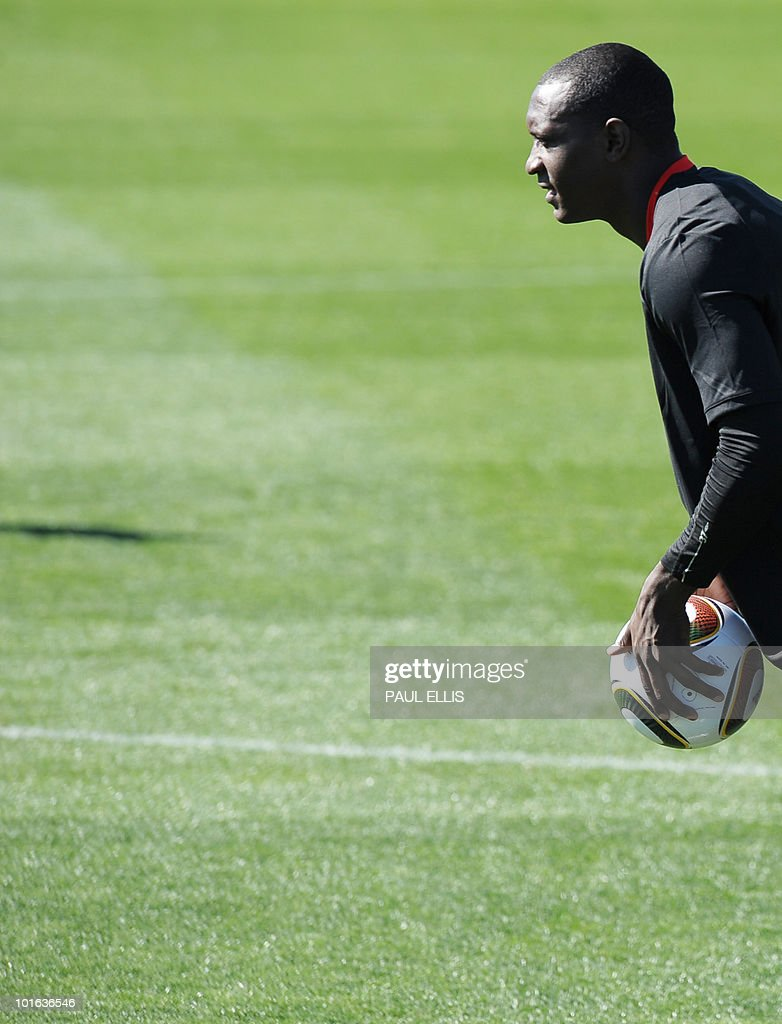 England's Emile Heskey throws a ball during a training session at the Royal Bafokeng Sports Campus near Rustenburg on June 5, 2010.