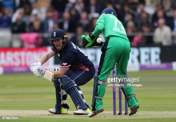 England's Eoin Morgan flicks the ball past Ireland's wicketkeeper Niall O'Brien during the second Royal London One Day International at Lord's London