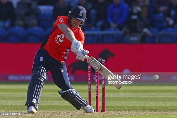 England's Eoin Morgan hits a six to win the game during the international Twenty20 cricket match between England and Pakistan at Sophia Gardens in...