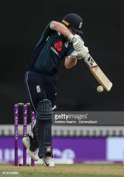 England's Eoin Morgan nicks the ball to the wicketkeeper to end his innings during the Royal London 1st ODI match between England and Australia at...