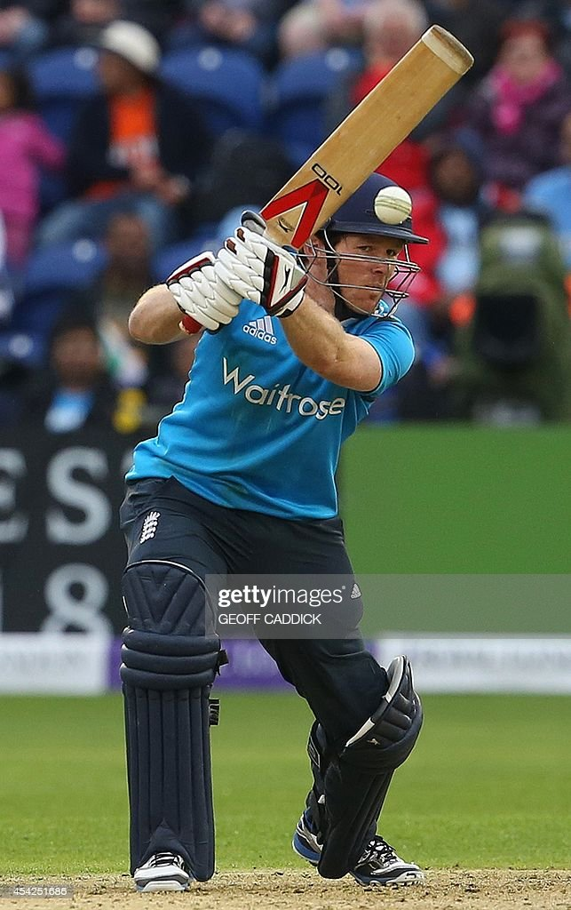 England's Eoin Morgan plays a shot during the second one-day international cricket match between England and India at the Glamorgan County Cricket Ground in Cardiff, Wales on August 27, 2014.