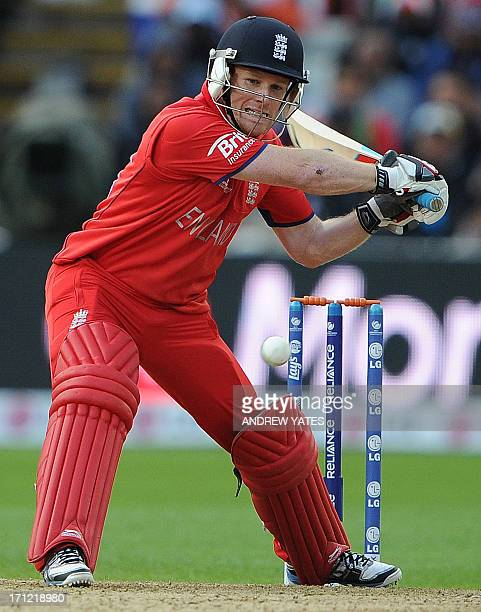England's Eoin Morgan plays s shot during the 2013 ICC Champions Trophy Final cricket match between England and India at Edgbaston in Birmingham...