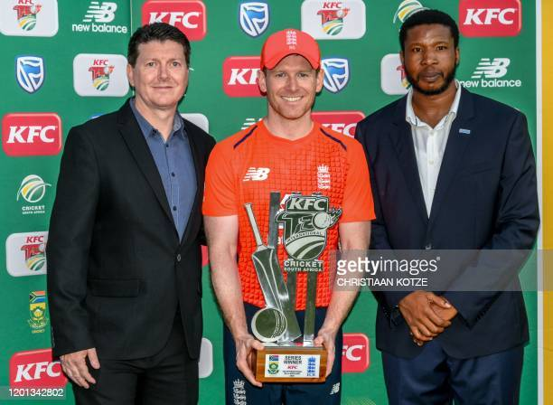 England's Eoin Morgan poses after being awarded Man of the Match and Man of the Series after the third T20 International cricket match between South...
