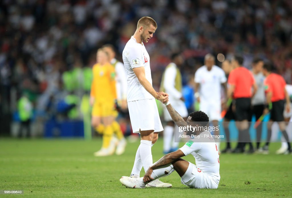 England's Eric Dier (left) consoles team-mate Danny Rose after the FIFA World Cup, Semi Final match at the Luzhniki Stadium, Moscow.