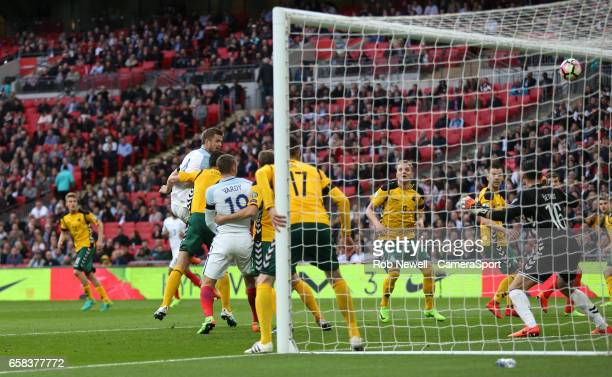 England's Eric Dier goes close with a header in the second half during the FIFA 2018 World Cup Qualifier between England and Lithuania at Wembley...