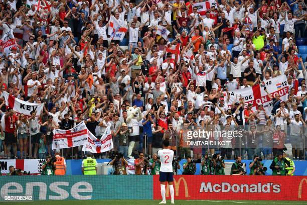 England's fans celebrate their teams victory during the Russia 2018 World Cup Group G football match between England and Panama at the Nizhny...