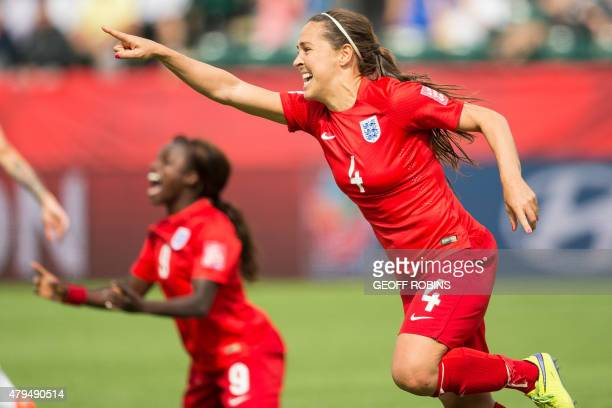 England's Fara Williams celebrates after scoring on a penalty in extra time of her bronze medal match against Germany at the FIFA Women's World Cup...