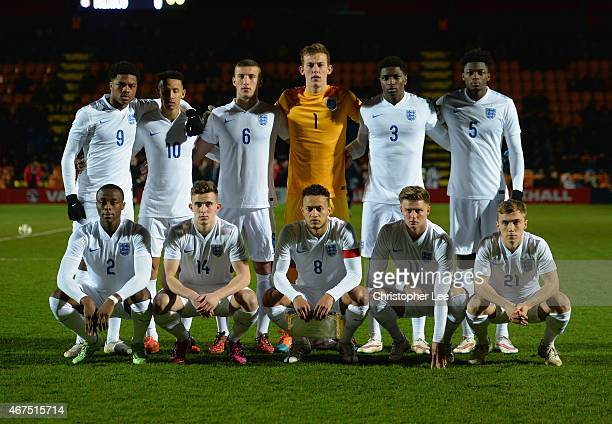 England's first eleven to play Mexico during the U20 International Friendly match between England and Mexico at The Hive on March 25 2015 in Barnet...