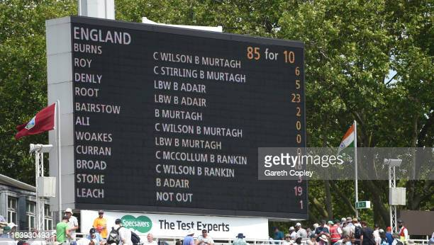 England's first innings scorecard is displayed on the big screen during day one of the Specsavers Test Match between England and Ireland at Lord's...