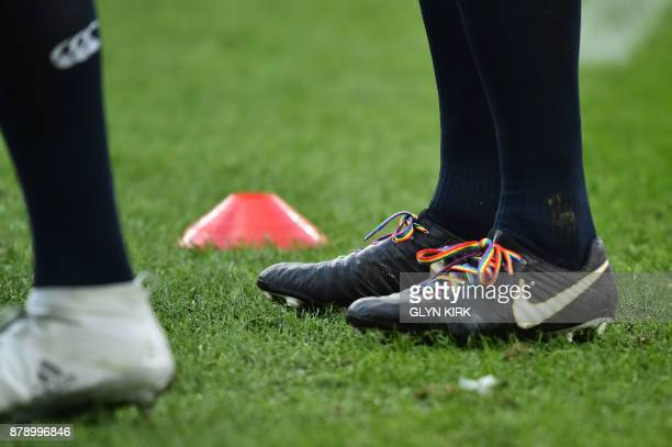 England's flanker Chris Robshaw wears rainbow shoelaces at the autumn international rugby union test match between England and Samoa at Twickenham...