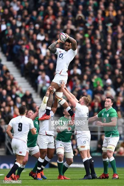 England's flanker Courtney Lawes wins line-out ball during the Six Nations international rugby union match between England and Ireland at the...