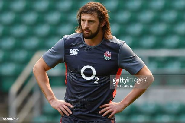 England's flanker Tom Wood attends the captain's run training session at Twickenham stadium in south west London on February 3 on the eve of the...