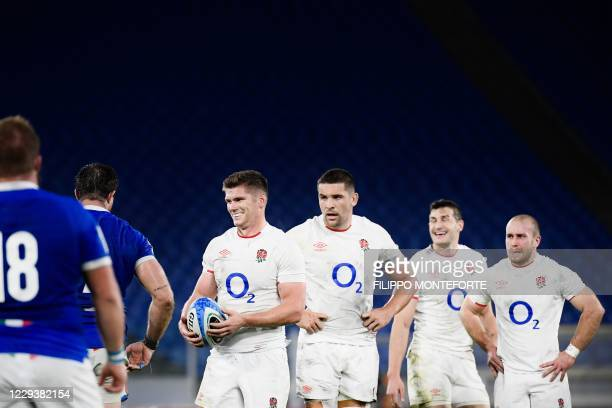 England's fly-half Owen Farrell reacts at the end of the Six Nations rugby union tournament match between Italy and England at the stadio Olimpico...
