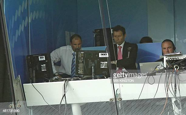 England's former captain Andrew Strauss is seen in the commentary box during the Lord's bicentenary match between the MCC and Rest of the world at...