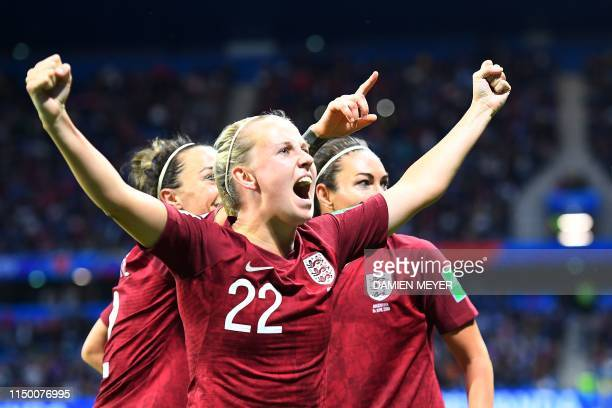 England's forward Beth Mead reacts after England's forward Jodie Taylor scored their first goal during the France 2019 Women's World Cup Group D...