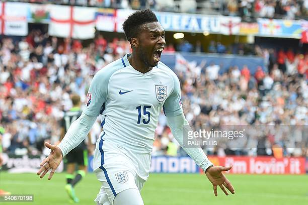 TOPSHOT England's forward Daniel Sturridge celebrates scoring the 21 goal during the Euro 2016 group B football match between England and Wales at...
