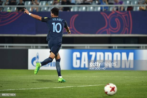 England's forward Dominic Solanke celebrates his goal during the U20 World Cup quarterfinal football match between England and Mexico in Cheonan on...