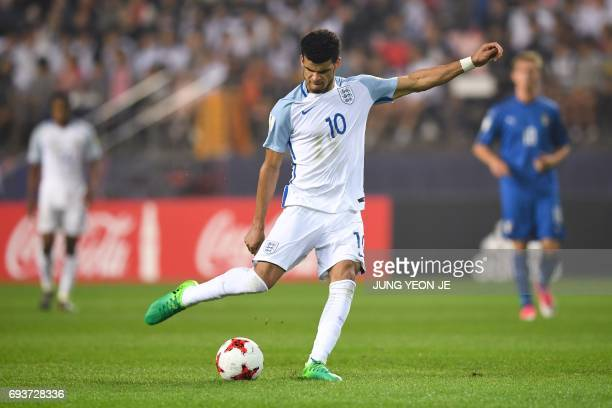 England's forward Dominic Solanke kicks the ball during the U20 World Cup semifinal football match between England and Italy in Jeonju on June 8 2017...