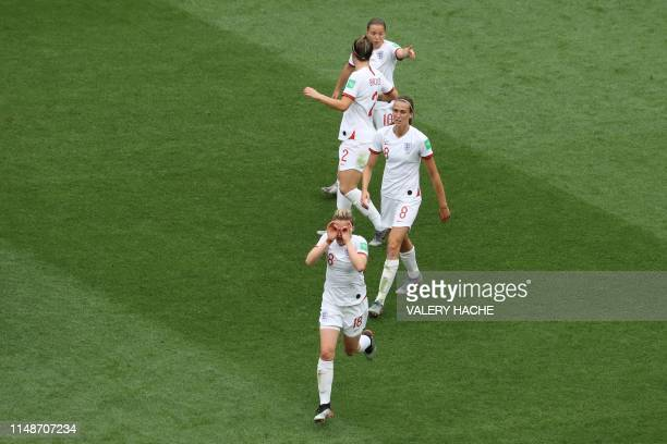 England's forward Ellen White celebrates after scoring a goal during the France 2019 Women's World Cup Group D football match between England and...
