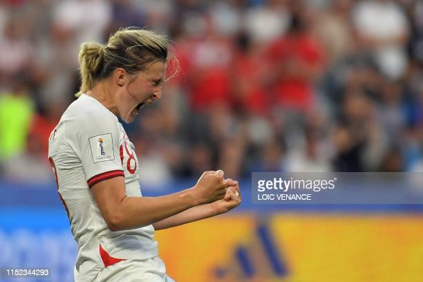 England's forward Ellen White celebrates after scoring a goal during the France 2019 Women's World Cup quarter-final football match between Norway...
