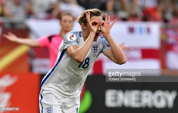 England's forward Ellen White celebrates after scoring a goal during the UEFA Women's Euro 2017 football match between England and Scotland at the...