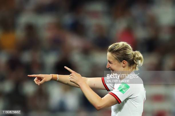 England's forward Ellen White celebrates after scoring her second goal during the France 2019 Women's World Cup Group D football match between Japan...