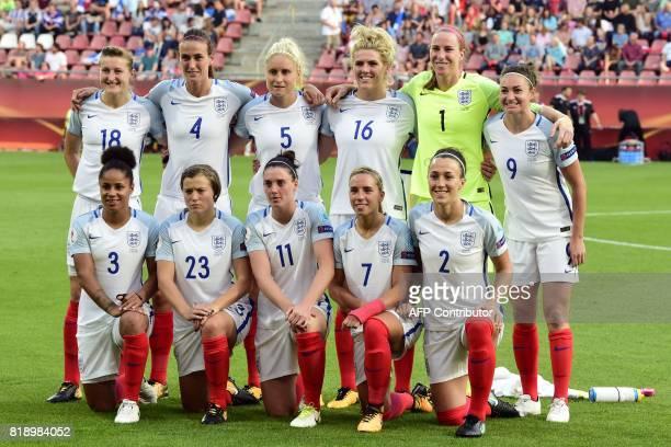 England's forward Ellen White, England's midfielder Jill Scott, England's defender Steph Houghton, England's midfielder Millie Bright, England's...