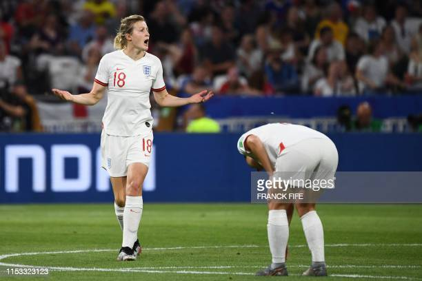 England's forward Ellen White reacts after a goal was ruled offside during the France 2019 Women's World Cup semifinal football match between England...