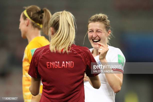 England's forward Ellen White reacts after winning the France 2019 Women's World Cup Group D football match between Japan and England, on June 19 at...