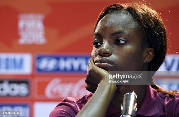 England's forward Eniola Aluko reacts during a press conference at the Moncton Stadium on June 12 2015 a day prior to England's 2015 FIFA Women's...
