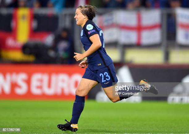 England's forward Francesca Kirby celebrates after scoring a goal during the UEFA Womens Euro 2017 football tournament match between England and...