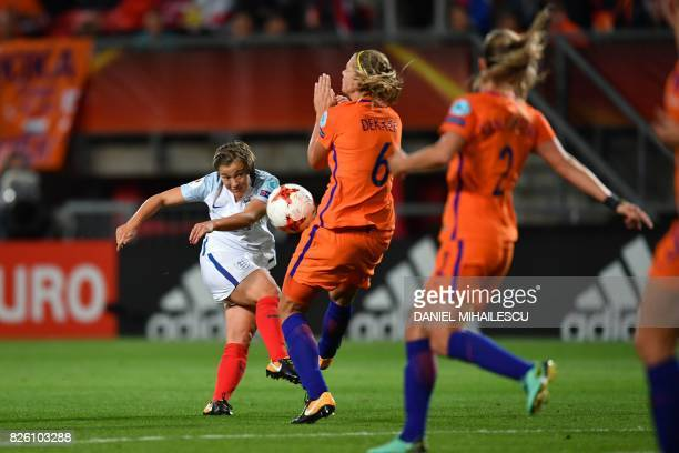 England's forward Francesca Kirby kicks the ball during the UEFA Womens Euro 2017 football tournament semifinal match between Netherlands and England...