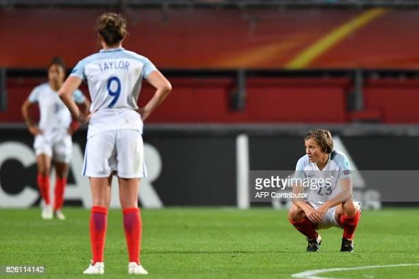 England's forward Francesca Kirby reacts after losing the UEFA Womens Euro 2017 football tournament semifinal match between Netherlands and England...