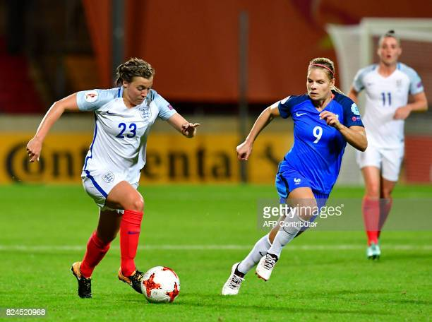 England's forward Francesca Kirby vies with France's forward Eugenie Le Sommer during the UEFA Women's Euro 2017 tournament quarterfinal football...