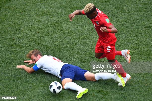 England's forward Harry Kane and Panama's defender Michael Murillo compete for the ball during the Russia 2018 World Cup Group G football match...