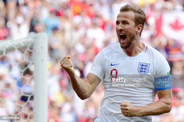 England's forward Harry Kane celebrates after scoring a penalty during the Russia 2018 World Cup Group G football match between England and Panama at...