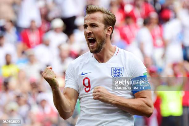 TOPSHOT England's forward Harry Kane celebrates after scoring his team's fifth goal during the Russia 2018 World Cup Group G football match between...