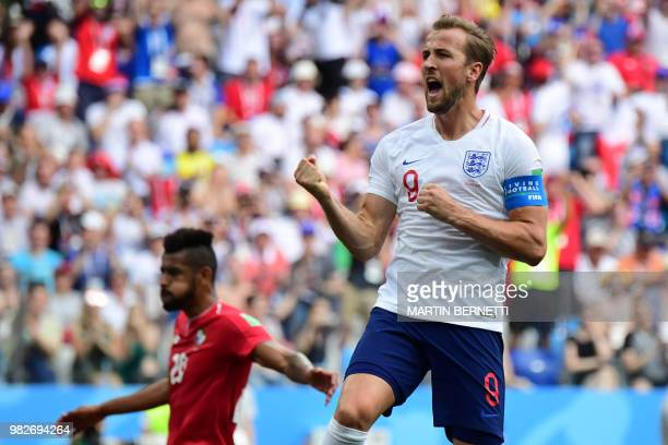 England's forward Harry Kane celebrates after scoring his team's fifth goal during the Russia 2018 World Cup Group G football match between England...