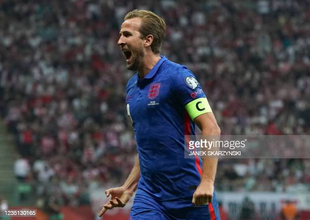 England's forward Harry Kane celebrates after scoring the 0-1 goal during the FIFA World Cup Qatar 2022 qualification Group I football match between...