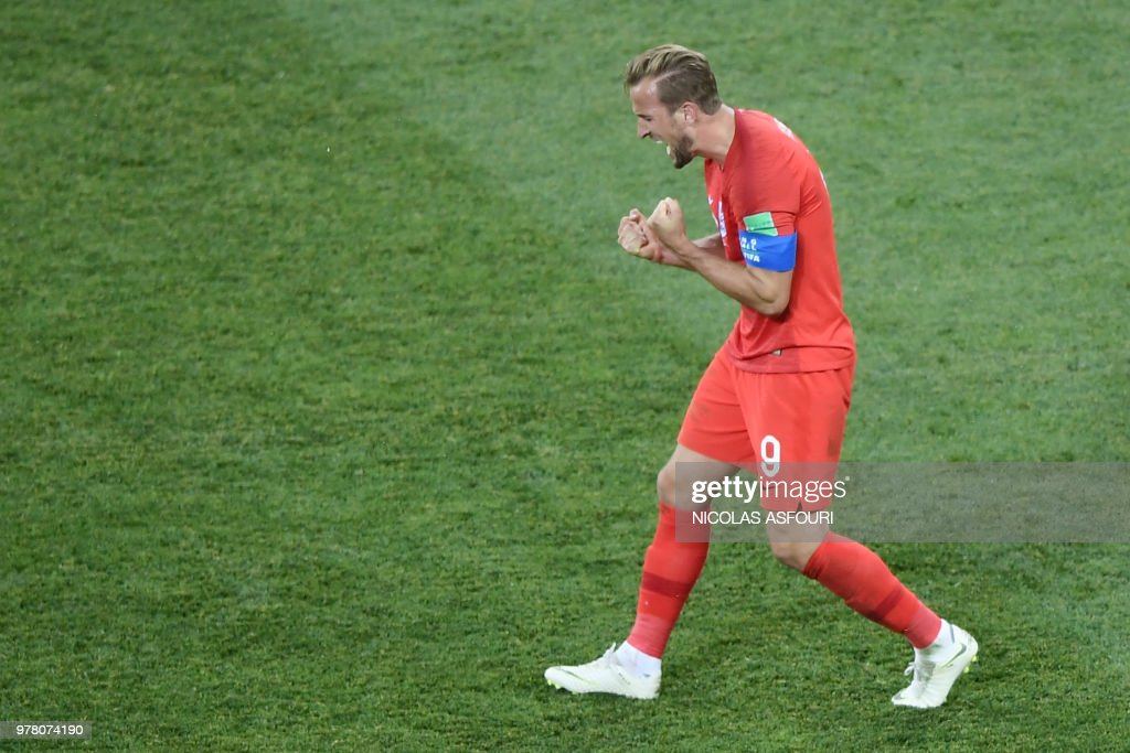 TOPSHOT - England's forward Harry Kane celebrates after winning the Russia 2018 World Cup Group G football match between Tunisia and England at the Volgograd Arena in Volgograd on June 18, 2018. (Photo by Nicolas ASFOURI / AFP) / RESTRICTED