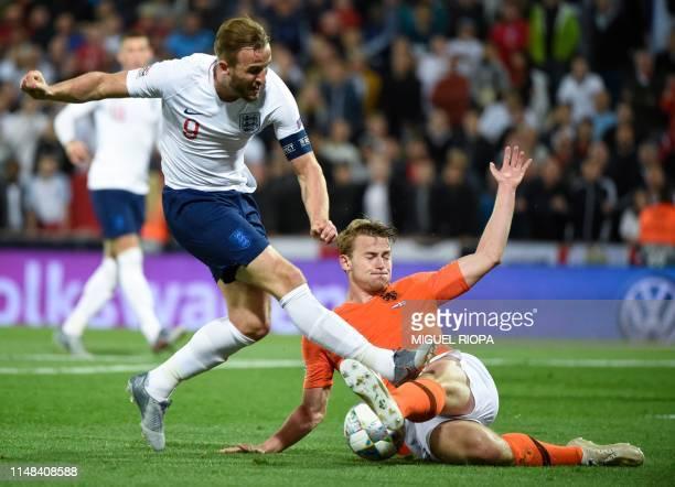 England's forward Harry Kane challenges Netherlands' defender Matthijs De Ligt during the UEFA Nations League semifinal football match between The...
