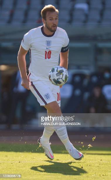England's forward Harry Kane controls the ball during the UEFA Nations League football match between Iceland v England on September 5, 2020 in...