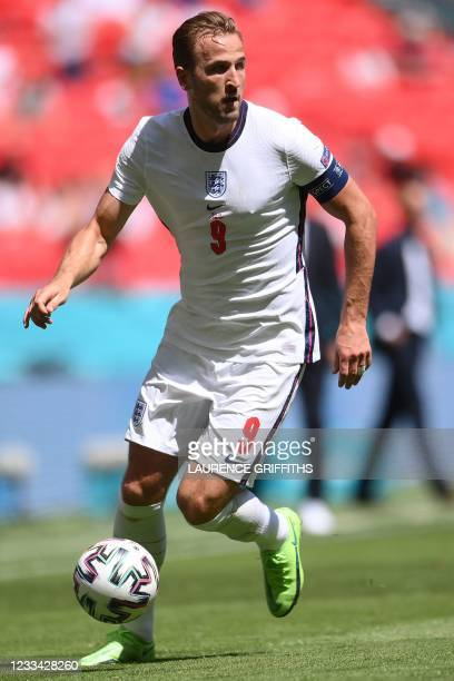 England's forward Harry Kane in action during the UEFA EURO 2020 Group D football match between England and Croatia at Wembley Stadium in London on...