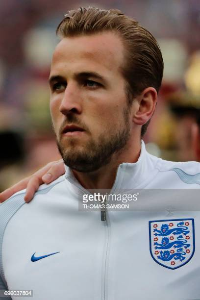 England's forward Harry Kane looks on before the international friendly football match between France and England at The Stade de France Stadium in...