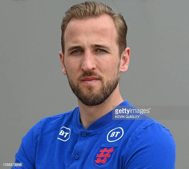 England's forward Harry Kane poses for a photograph at St George's Park in Burton-upon-Trent, central England, on June 10 ahead of the UEFA EURO 2020...
